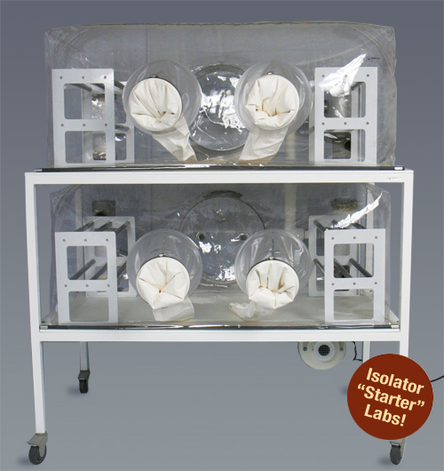 Class Biologically Clean flexible film, 2-tier isolator starter lab.