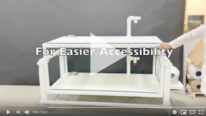 Class Biologically Clean optional adjustable height double-tier isolator frame provides easier accessibility to the top tier isolator.