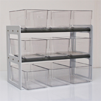 Each internal cage racks can accomodate up to nine mouse cages.