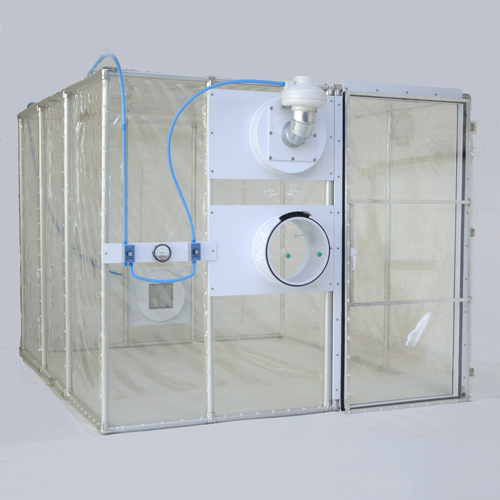 Class Biologically Clean softwall, negative pressure containment chamber.