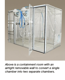 Negative pressure, flexible film double containment unit.