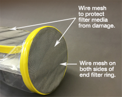 germfree shipper sleeve media filter is protected with a wire mesh.
