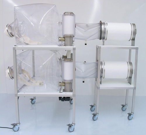 Class Biologically Clean transfer cart for safely transporting CBC sterlizing cylinders.
